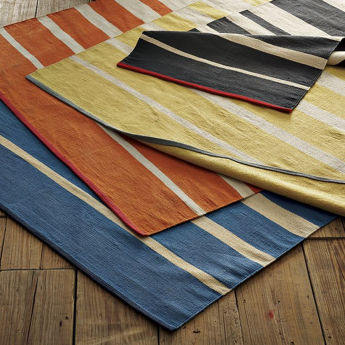Gypsy Stripe Turquoise Grey Woven Cotton Rug: Cotton Striped Rugs